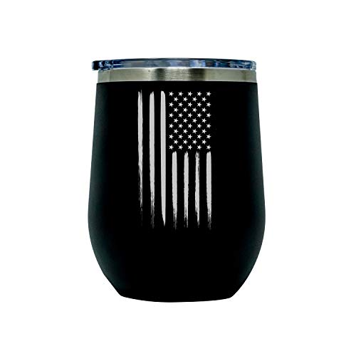 Outdoor American Flag Vacuum Insulated Wine Tumbler with Lid, Stainless Steel Glass 12oz - Double Wall Stemless Metal Cup - Matte Black Colored with Laser Engraved USA Flag