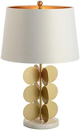 素赟灯具 モダンアメリカンミニマリストベッドサイドテーブルランプ、エレガントなファブリックランプシェード、リビングルームスタディオフィスホームデコレーション、E27、ゴールド用ラウンドリーフ大理石ベースベッドルームテーブルランプ
