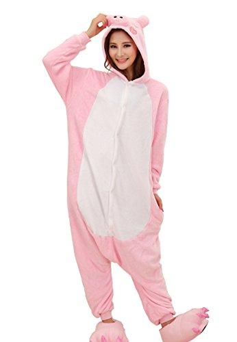 Cliont Animal cerdo Pijamas Kigurumi la ropa de noche del traje del Anime de Cosplay Nightclothes Onesie Navidad rosa