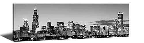 JiazuGo-Black & White Panoramic Chicago 2 Skyline Modern Art Work Cityscape Pictures Paintings on Canvas Wall Art Wall Pictures for Bedroom Art Home Decorations Office Decor Ready to Hang 14