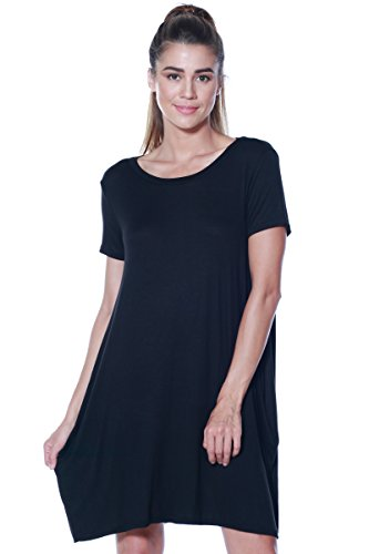 A+D Womens Casual Jersey Shortslv Swing Tunic Dress w/Pockets