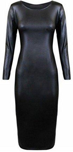 Noir robe PVC en Noir Cuir en 8C26 Mesdames Midi Imitation longues robe Effet manches Bodycon Mouill Noir xpwtnnT