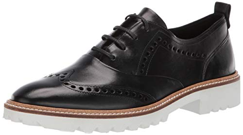 ECCO Women's Incise Tailored Wing Tip Oxford Flat, Black, 40 M EU (9-9.5 US)