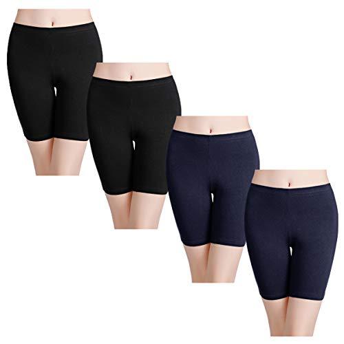 wirarpa Women's Cotton Underwear Boy Shorts Under Dresses Long Leg Panties Anti Chafe Bloomers Black Deep Blue 4 Pack Size - Panty Blue Boys