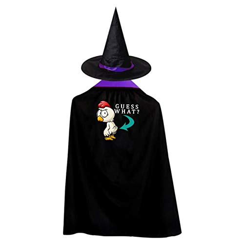 Guess What Kids' Witch Cape With Hat Simple Vampire Cloak For Halloween Cosplay -