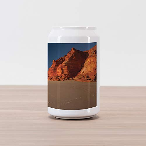 Lunarable Wilderness Cola Can Shape Piggy Bank, Western Australia Coastline with Rocks at Dampier Peninsula, Ceramic Cola Shaped Coin Box Money Bank for Cash Saving, Burnt Orange Taupe Dark Blue (Australia Western Patios)