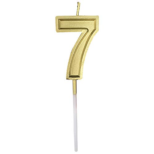 Wuinio Gold Glitter Happy Birthday Numeral Candles Number 7 Cake Topper Decoration for Adults/Kids Party -Gold Number 7