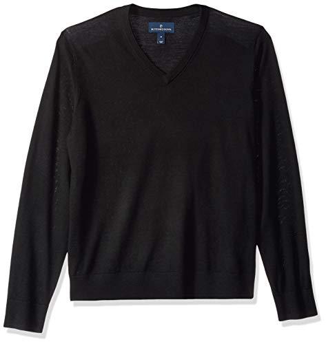 BUTTONED DOWN Men's Italian Merino Wool Lightweight Cashwool V-Neck Sweater, Black, ()