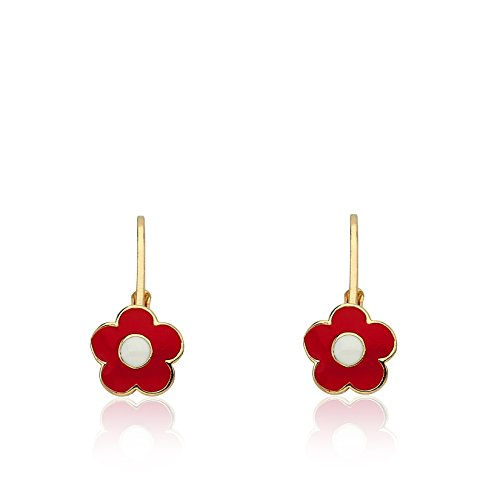 LMTS Frosted Flowers 14k Gold-Plated Red Enamel Flower Leverback Earring Accented With White Center/Brass (Center Frosted)