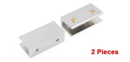 eDealMax tono de Plata de aleación de aluminio DE 11 mm de espesor Clip abrazadera de Cristal 2 Piezas