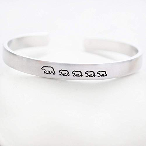 Hand Stamped Silver Jewelry - Mama Bear Bracelet with 4 Cubs Hand Stamped Jewelry Silver Cuff for Women Mom Multiples Mother's Day