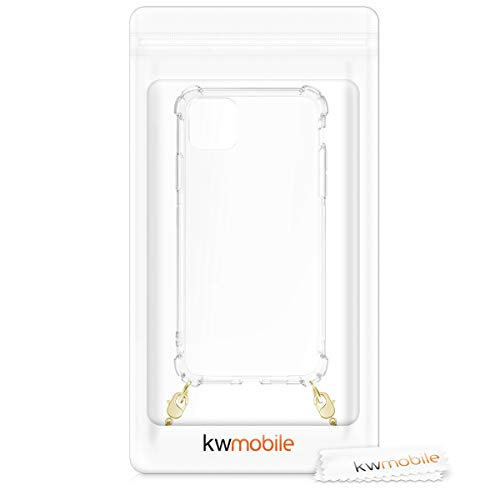 kwmobile Crossbody Case Compatible with Apple iPhone 11 Pro Max - Clear Transparent TPU Phone Cover Holder with Metal Chain Strap - Transparent/Gold