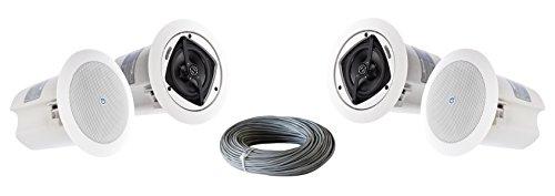 Atlas Sound FAP40T 4 Inch 16-Watt 70V In-Ceiling Loudspeaker Bundle with West Penn 224 18/2 AWG Speaker Wire - Contractor Pack (4 Speakers, White)