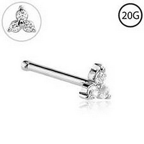 YD Jewelry - Trinity Nose Bone Ring Stud 3mm Prong Set CZ 316L Surgical Steel 20 Gauge ()