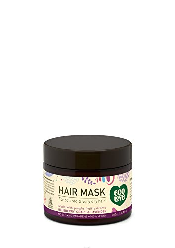100% Vegan hair mask by ecoLove Organic blueberry, grape & lavender For colored and very dry hair 11.8fl oz 350ml