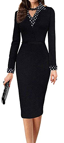 LunaJany Women's Polka Dot Long Sleeve Wear to Work Office Pencil Dress Medium Black