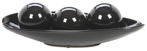 Hosley's Black Decorative Bowl and Orb Set. Ideal GIFT for Weddings, Special Occasions, and for Decorative Centerpiece in Your Living / Dining Room O3 (Black Tray Decorative)