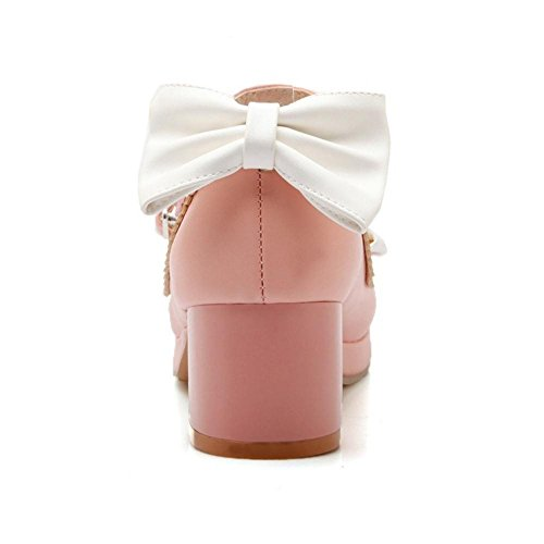 COOLCEPT Damen Cross Strap Pumps Pink