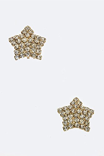 [Karmas Canvas Crystal Stars Fashion Studs (Gold)] (Dallas Wholesaler Costumes Jewelry)