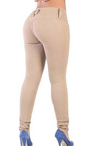 Donne Yulinge Alto Denim Lunghi Pantaloni Le Cachi Caviglia In Jeans 5prTpxSq