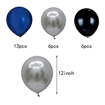 30th Birthday Party Balloons Kits 30th Birthday Party Supplies 30th Birthday Sash Happy Birthday Banner, 30 Silver Number Balloons, Silver/Black/Navy Blue Paper Pom Poms: Toys & Games