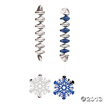 - 12 Beautiful SNOWFLAKE Dangling SPIRALS/Winter HOLIDAY Decor/CHRISTMAS Party/HOME Office CLASSROOM Decorations