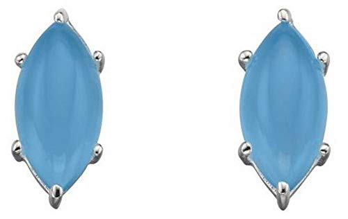 - Elements Silver Womens Marquise Cab Earrings - Blue/Silver