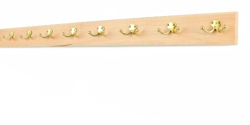 Maple Coat Rack with Solid Brass Double Style Hooks (Natural, 41