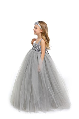 MALIBULICo Baby Girls' Grey Fluffy Flower Girl Tutu Dress for Wedding and Birthday Photoshoot -