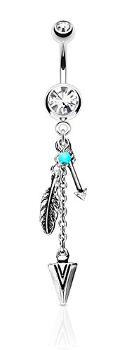 Surgical Steel Clear Crystal Tribal Feather and Arrow Charms Synthetic Turquoise Dangle Belly - Feather Dangle Ring Belly