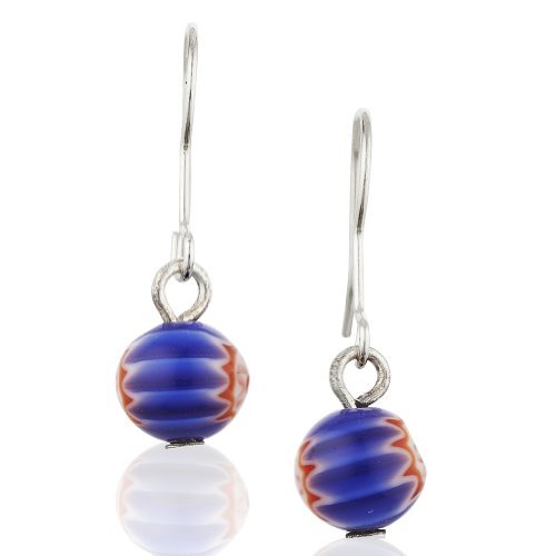 Starfish Project, Lampwork Glass Ball Earrings with 925 Sterling Silver Hooks