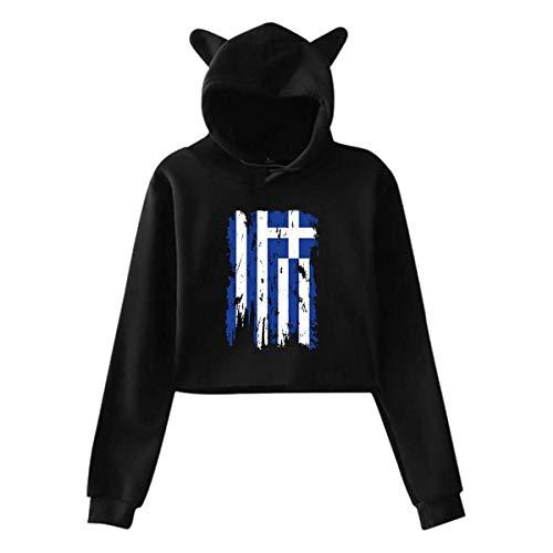 Greece Flag,Cat Ear Hoodie Sweatshirts,Midriff-Baring Hoody Sweater Womens Sexy Stylish Hoodie Sweater Girls Cute -