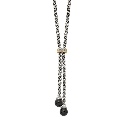 14K White Gold Onyx Diamond Lariat Necklace Solid 3 mm 18 in Yellow Diamond Necklaces ()