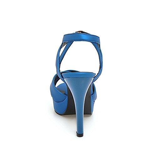 Dress Femmes Strappy ZXCB Party Buckle Blue Pompe Toe Heel High Peep Platform d8dAxq7n
