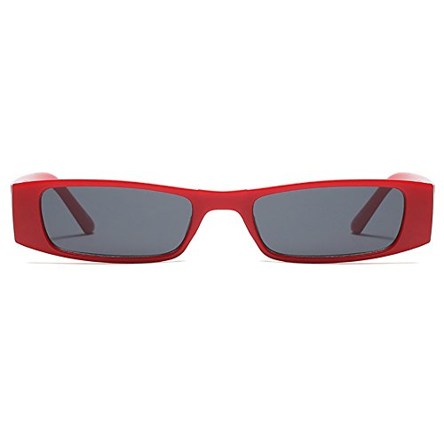 rectangulares sol Vintage Rojo Gafas sol coloreadas de pequeña Gafas Lente de Extremo delgado vvpqAgx
