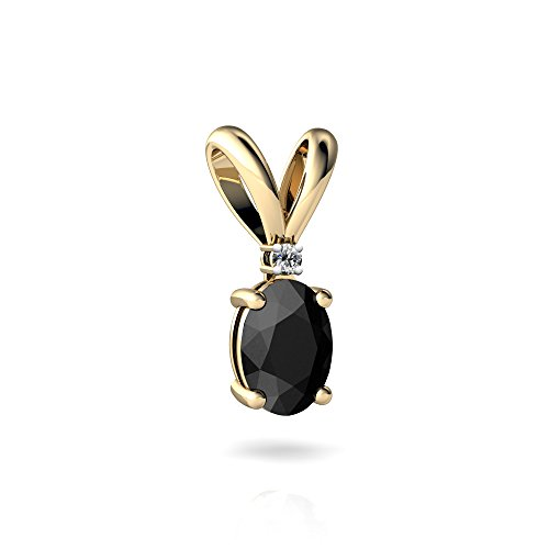 14kt Yellow Gold Black Onyx and Diamond 7x5mm Oval Solitaire Pendant