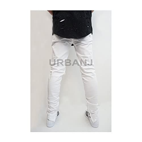70%OFF URBANJ MEN'S WHITE DESTROYED ANKLE ZIPPER SKINNY JEANS ...
