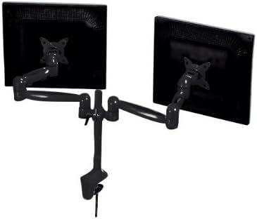 Monoprice Dual Monitor Desk Mount Bracket (max 18 pounds per arm, 15~22 inch) – Black