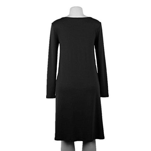 798dcaace Holgados Grande Black Sólido Casuales Huayin De Vestidos Camiseta Color  Mujer Sleeve Redondo Verano Con long Cuello Talla Cortos ZnnBRP