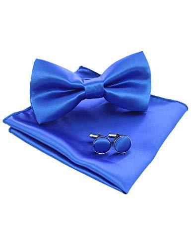 JEMYGINS Mens Blue Pre-tied Bow Tie and Pocket Square Cufflink Set (11)