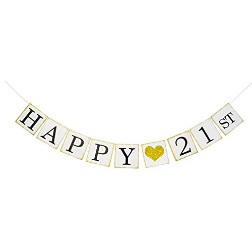 Happy 21st Birthday Banner Gold Glitter Forever 21 Party Favors Supplies Gifts