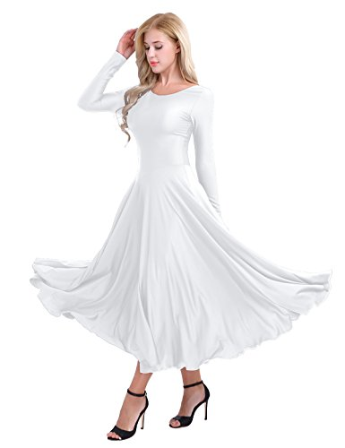 iiniim Womens Liturgical Praise Loose Fit Full Length Long Sleeve Dance Dress White Medium