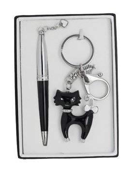 Caja Boligrafo con llavero gato negro + encantos: Amazon.es ...
