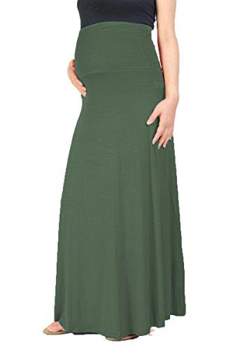 Beachcoco Women's Maternity High Waisted Fold Over Maxi Skirt (S, Olive)