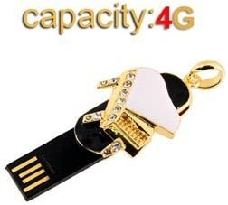 Worldwideing Black 4GB Mini Piano Shaped Twistable High Speed USB2.0 Flash Drive with Crystal Decoration