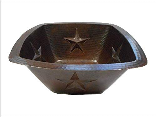 15 Square Copper Bath Sink with Rustic Stars Design