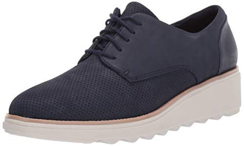 CLARKS Women's Sharon Crystal Oxford Navy Nubuck/Leather Combi 9 W US