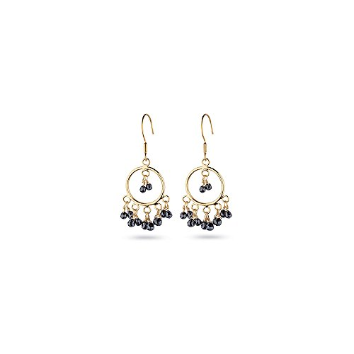 Black Diamond Briolette Earring - 4.00 Cts Black Diamond Briolette Earrings in 18K Yellow Gold