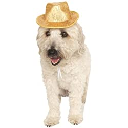 Rubies Costume Company Fedora Pet Costume Accessory, Small/Medium, Gold Sequin
