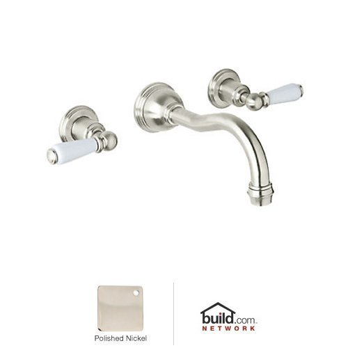 (Rohl U.3790L-PN-2 Country Spout Wall Mounted Bathroom Faucet, Polished Nickel)